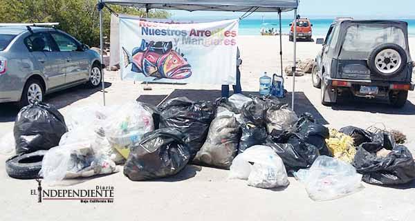 Retiran 2.7 toneladas de basura y 30 llantas en Isla Gaviota y playas de La Paz