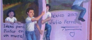 Denuncia que IMJUVE cubre mural para colocar retratos de sus directores