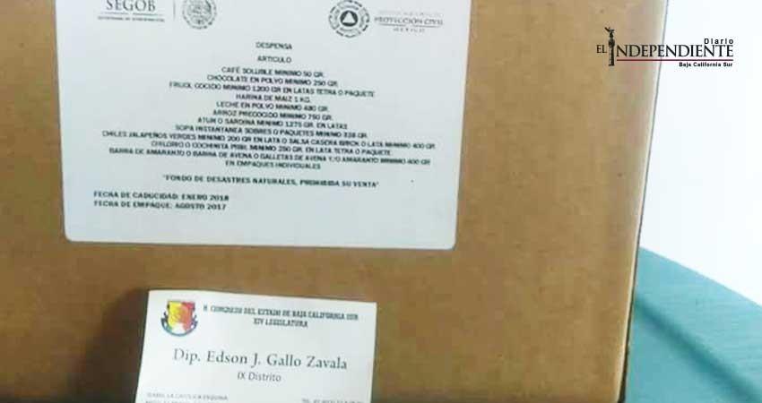 Denuncian entrega de despensas del Fonden con tarjeta de diputado Edson Gallo