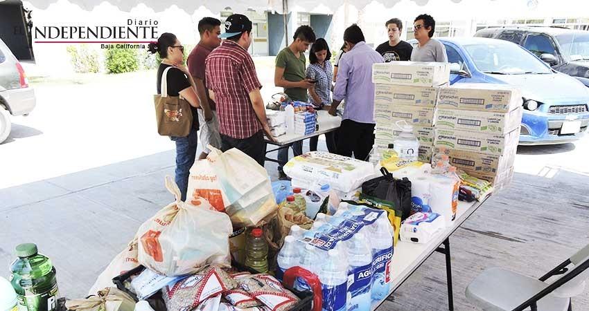 Operan 7 centros de acopio en La Paz en apoyo para damnificados de CDMX