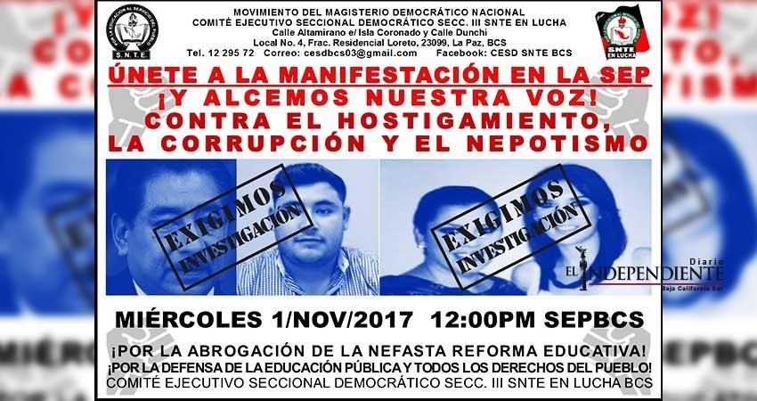Convocan a manifestación para exigir sanciones en caso SEP