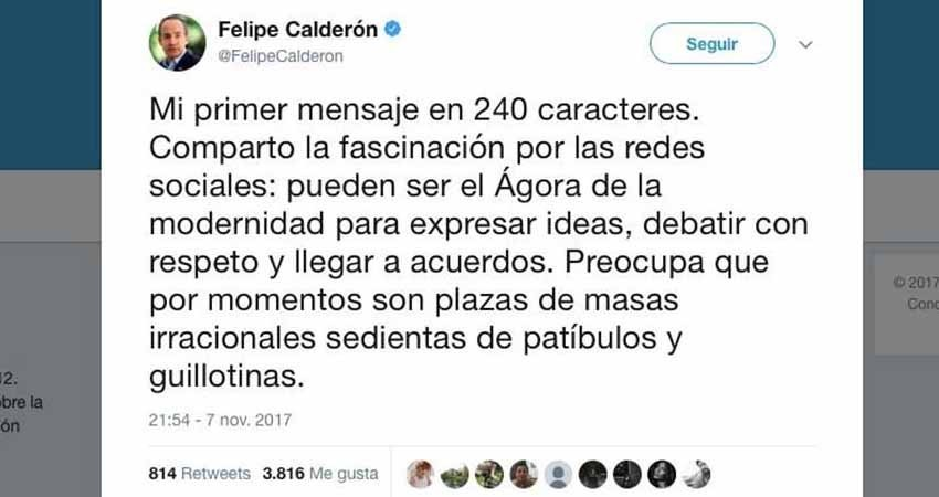 Calderón tuiteó la 'fascinación' de los '240 caracteres'... ¡y son 280!