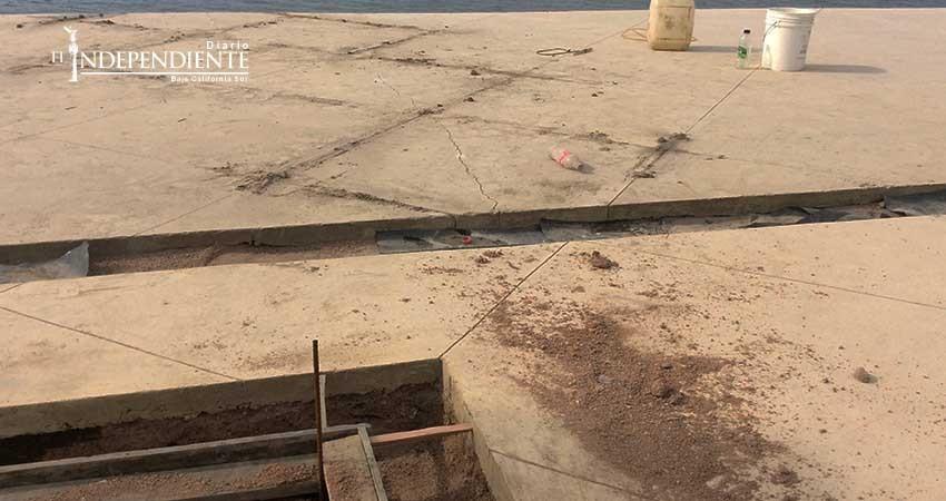Denuncian mala calidad en remodelación del malecón de La Paz