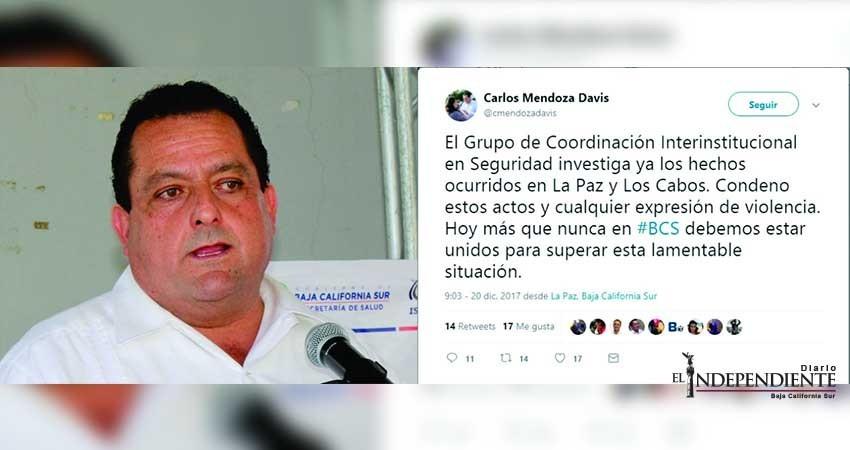 A través de Twitter, condena gobernador ejecuciones y colgamientos