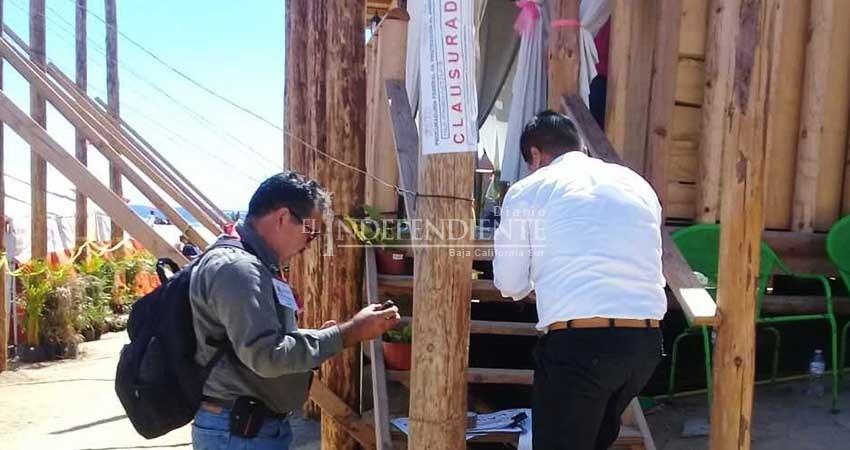 Clausura Profepa más de una veintena de comercios en playa El Médano de CSL