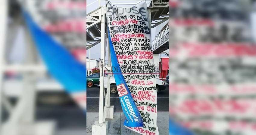 Reaparecen las narcomantas en La Paz