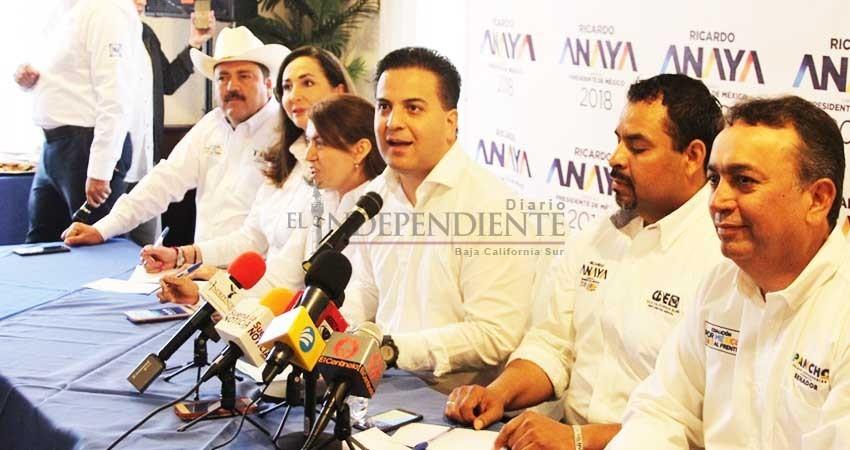 Ricardo Anaya gobernará como Carlos Mendoza lo hace en BCS: Zepeda Vidales