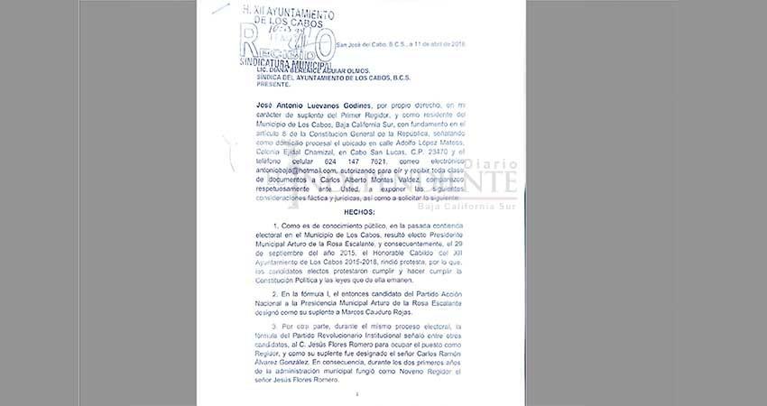 Sindicatura recibe denuncia por violación a derechos político-electorales de suplentes de ediles