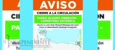 Cerrarán parte del malecón este fin de semana por eventos deportivos  en La Paz