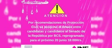 Por paso de Bud, pospone INE debate entre candidatos a senadores