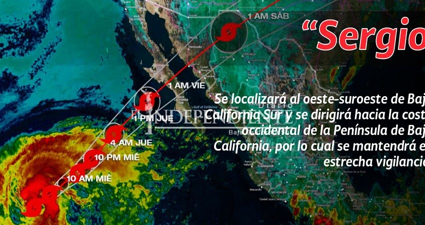 """Avanza tormenta """"Sergio"""" hacia Baja California Sur"""