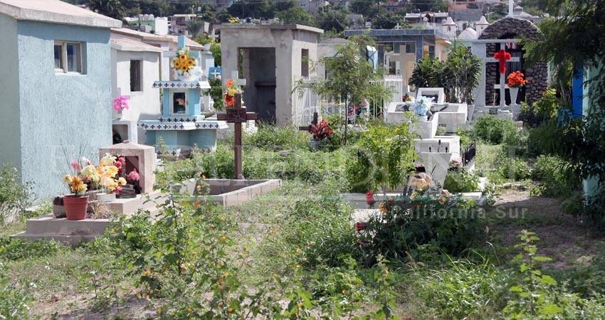 Entre la maleza y suciedad, cierran año los panteones de La Paz