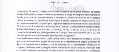 Pide consejo de CEDH a Lizeth Collins no intervenir en presidencia de la institución