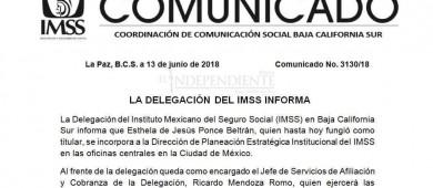 Destituyen a Esthela Ponce de la delegación del IMSS BCS