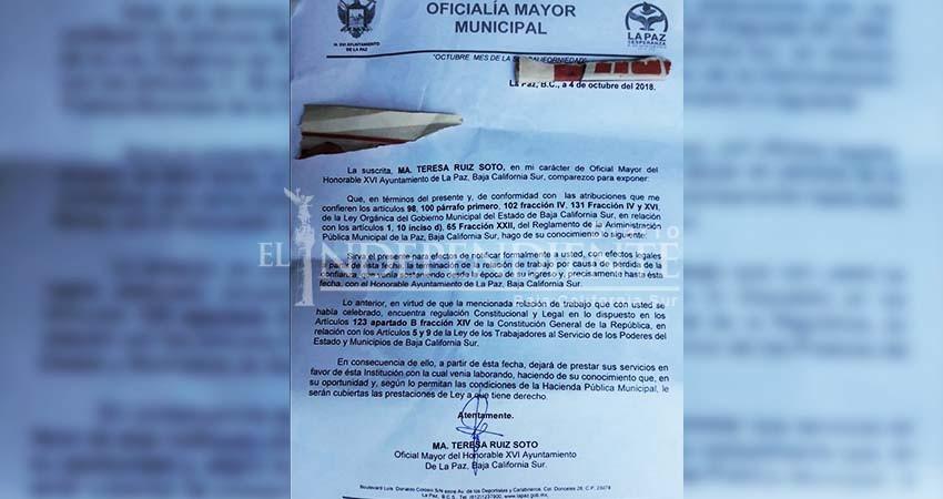 Inician despidos en el XVI Ayuntamiento de La Paz