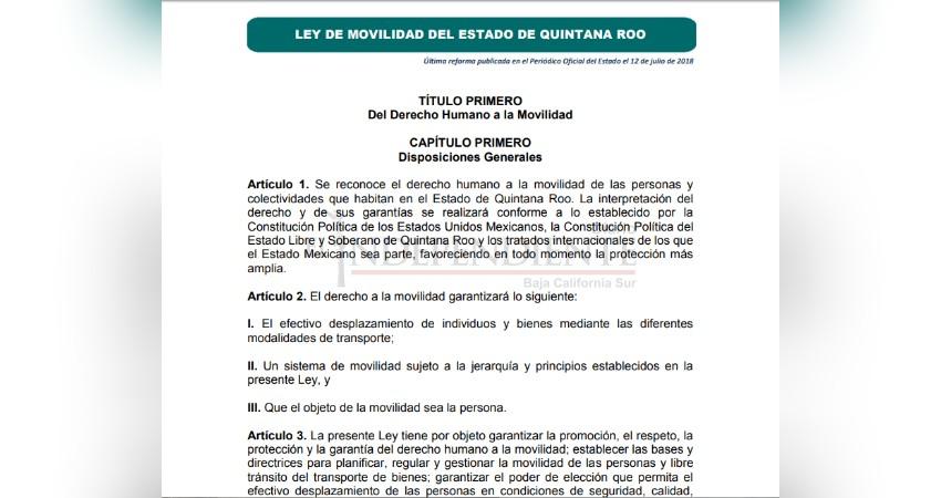 A pesar de consulta, Ley de Movilidad BCS resultó idéntica a Quintana Roo
