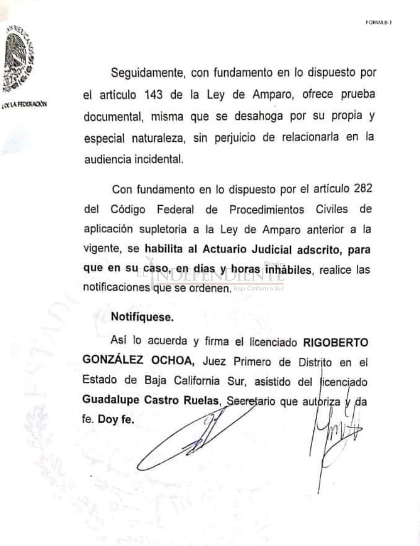 """Concede juez 1ro de Distrito de BCS, suspensión a la toma de nota de José Ángel """"Cacho"""" Ruiz"""