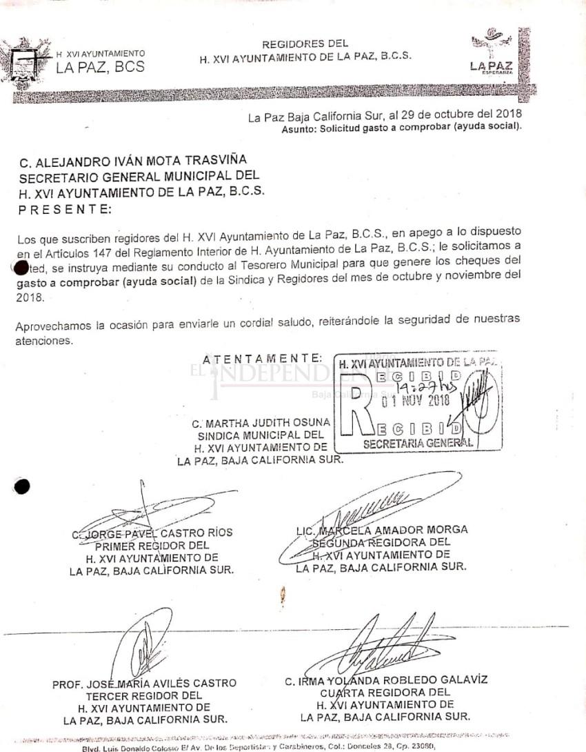 """Pidieron regidores de La Paz 10 mil pesos de vuelta tras anunciar """"austeridad"""""""