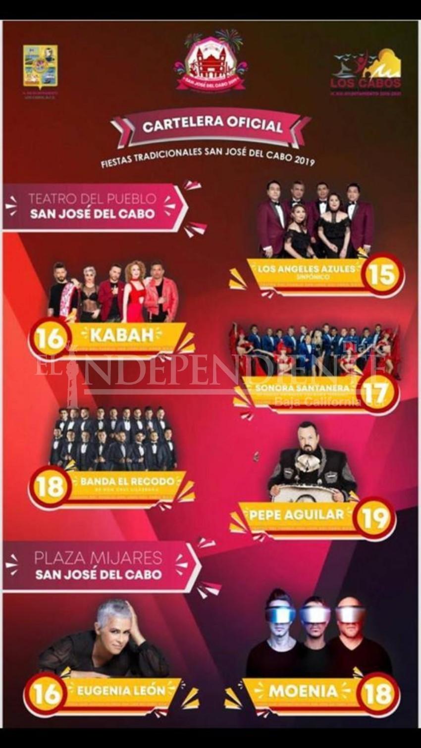 Lista cartelera oficial de Fiestas Tradicionales de San José del Cabo