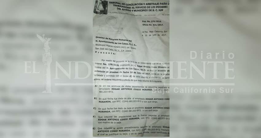"""""""Ayuntamiento Los Cabos no quiere pagarme el juicio que gané por quitarme la base"""": Ex empleado"""