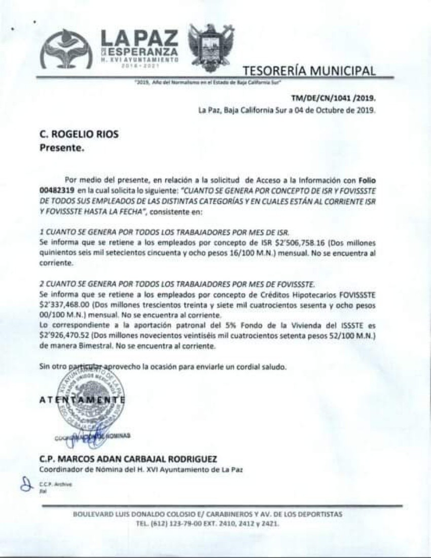 Retienen 4.8 MDP al mes de ISR y FOVISSSTE a trabajadores municipales paceños