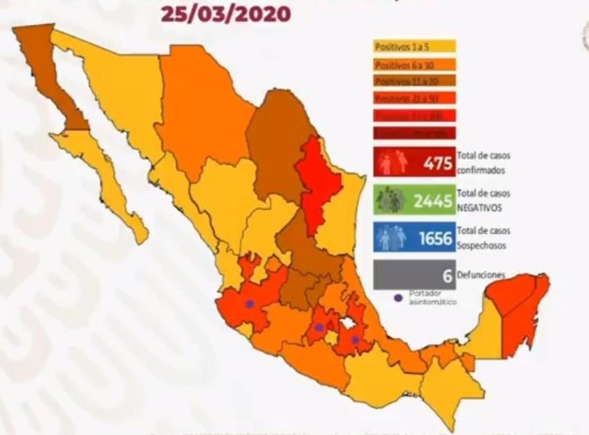 Suman 475 los casos positivos de coronavirus en México