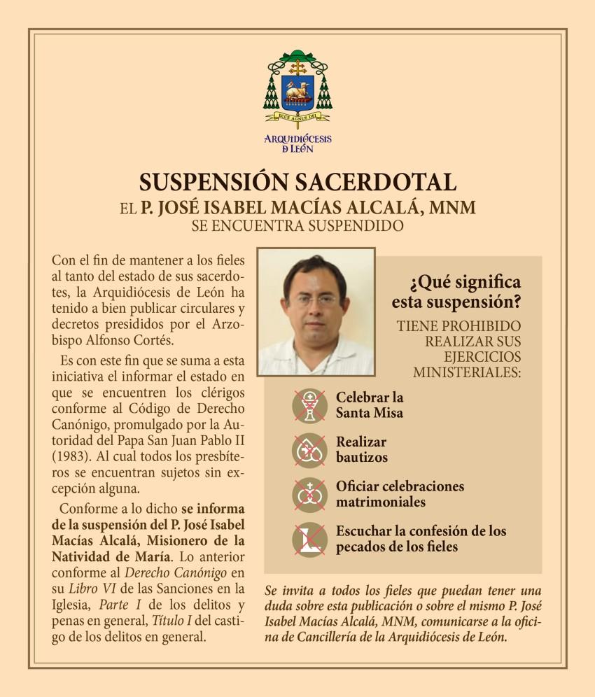 """Padre """"Chabelo"""" recibe suspensión sacerdotal del Arzobispado de León"""