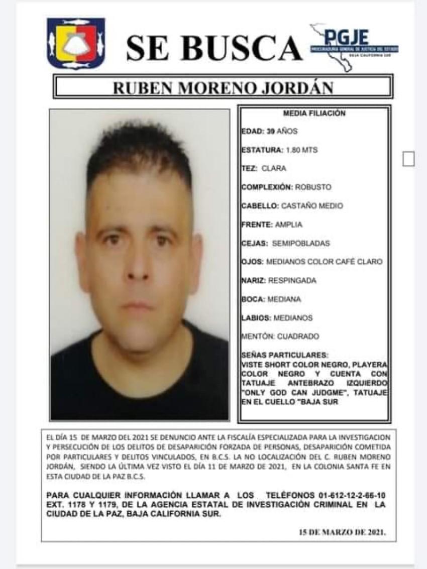 Sigue la búsqueda de Rubén Moreno,desaparecido desde el 11 de marzo