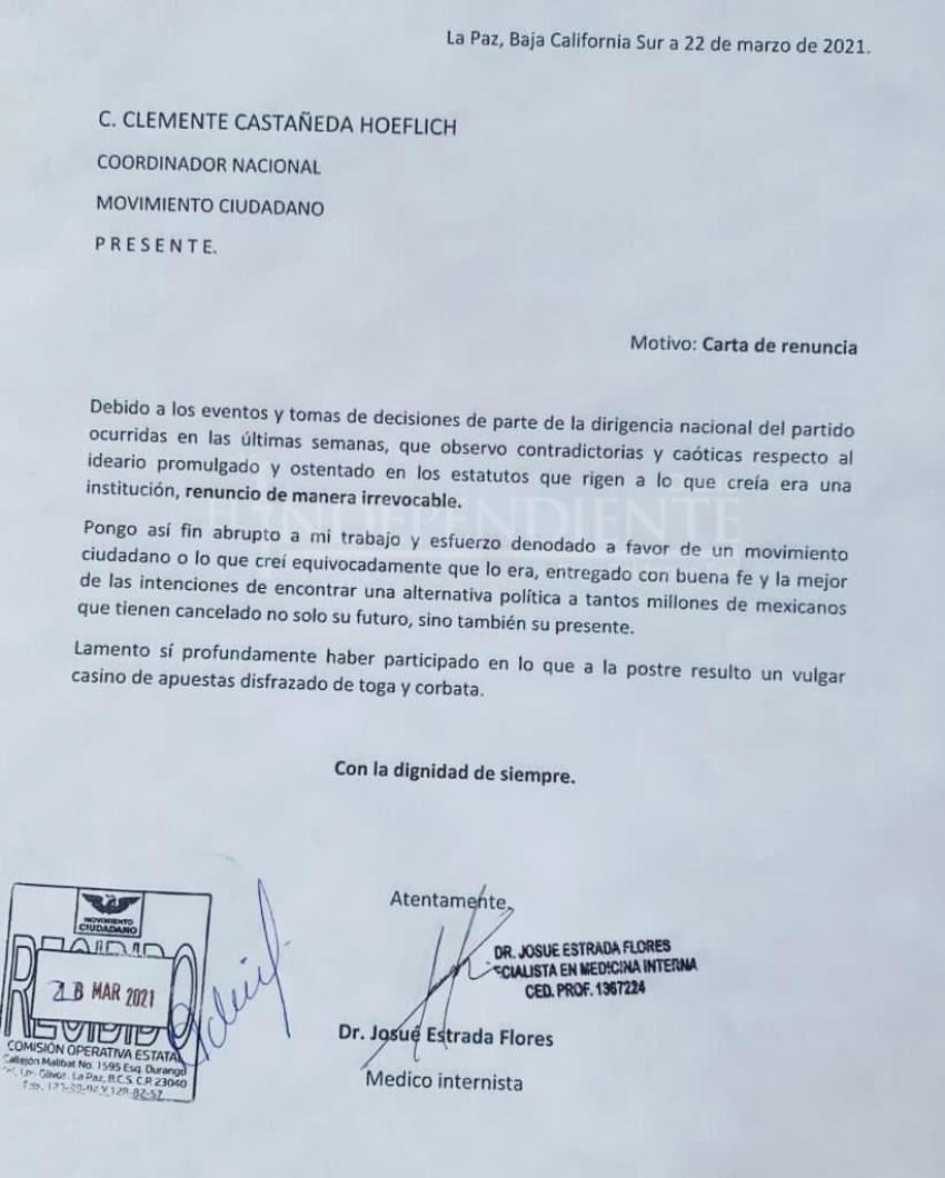 Renuncia Josué Estrada a la dirigencia de MC en BCS