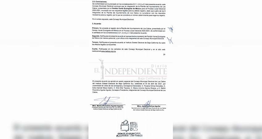 Rechaza IEE planilla de Chaky Van Wormer por alcaldía Los Cabos