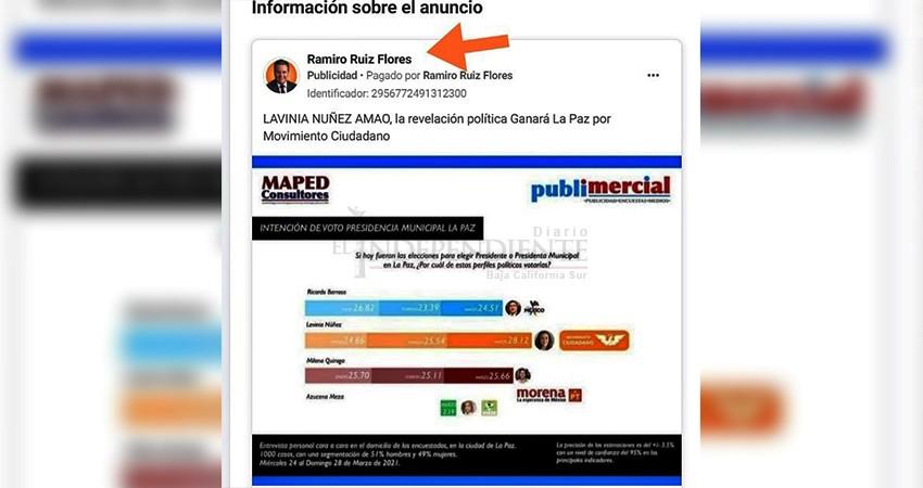 Ramiro Ruiz paga para promover la candidatura de su esposa