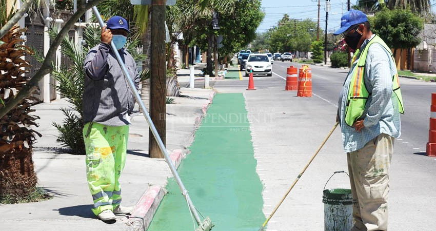 Presenta un 50% de avance la ciclovía de la calle Colima en La Paz