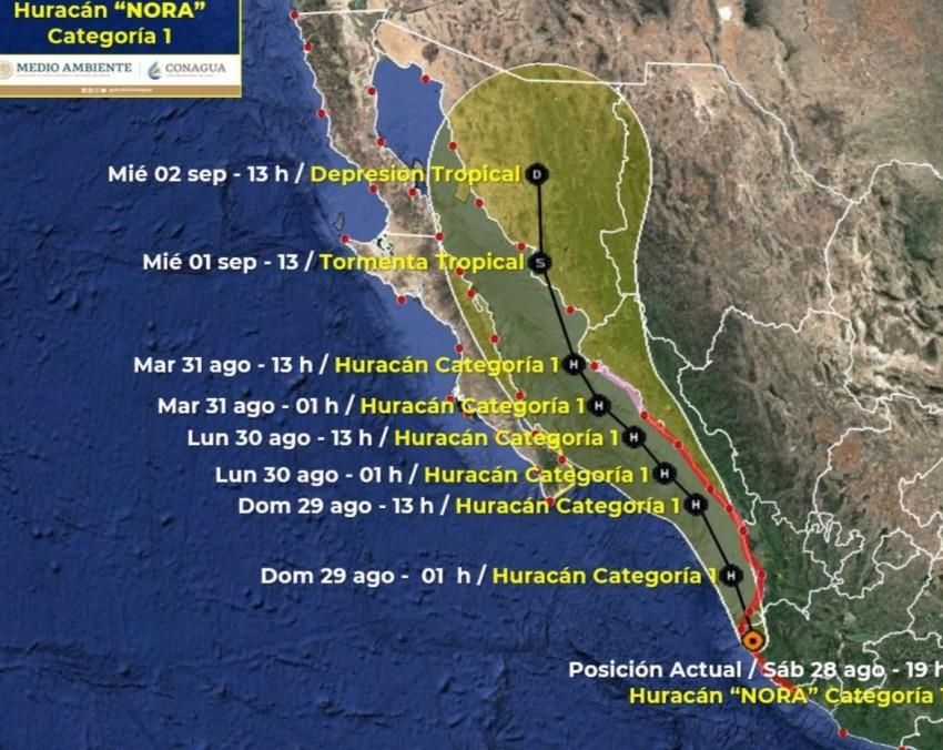 Lluvia y viento dejará el Huracán NORA por BCS