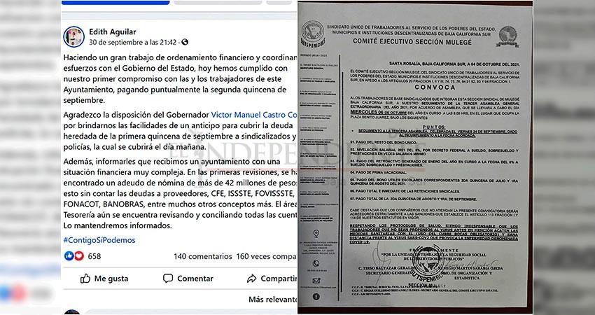 Adeuda Ayuntamiento de Mulegé dos quincenas a trabajadores sindicalizados, convocan a asamblea